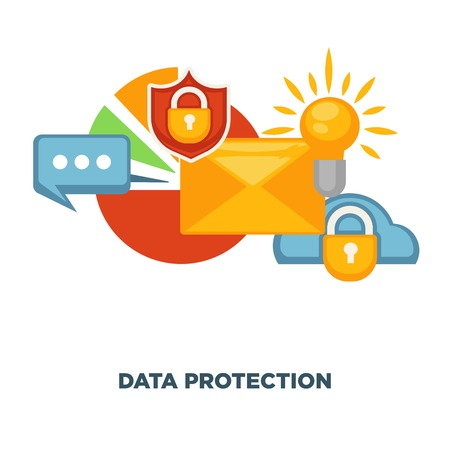 internet protection: Internet security and data protection vector flat poster