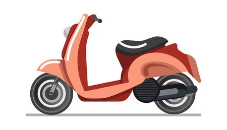 vehicle icon: Scooter or motorbike vehicle vector isolated icon Illustration