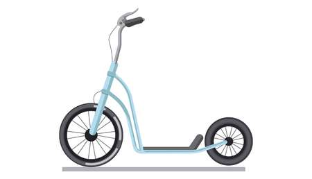 pedaling: Kick scooter or push bike vehicle vector isolated icon Illustration