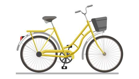 pedaling: Bicycle pedal vehicle with travel basket vector isolated icon
