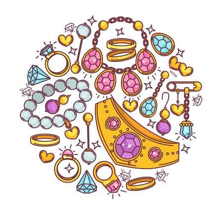 zafiro: Diseño plano de joyería oro y piedras preciosas vector poster