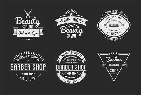 Set of vintage barber shop logo and beauty spa salon badges. Vector elements. Isolated icons on dark background