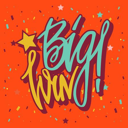 Win inscription with colorful confetti.