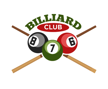 Pool or billiards vector icon or template of cues and balls for poolroom game club contest. Emblem or logo for championship tournament. Vector Illustration. Banco de Imagens - 76248802