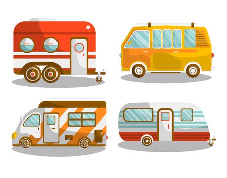 Camping bus or camper van vector illustration