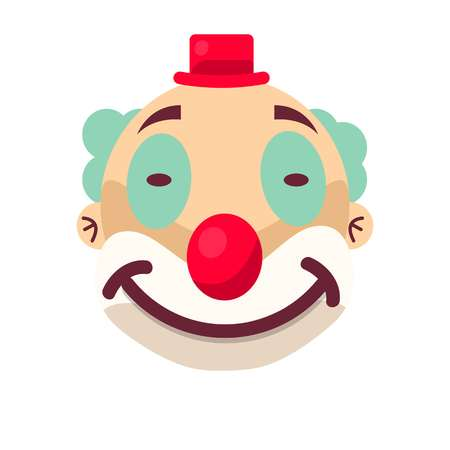 festive: Clown face smile in wig and birthday cap. Vector isolated icon of cartoon circus funny comic man