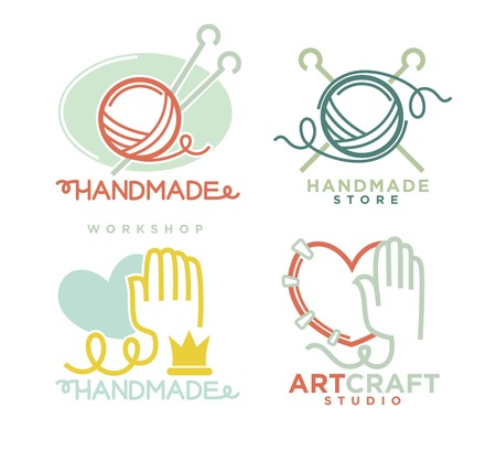 ribbon: Art and handmade craft logo templates flat set. Illustration
