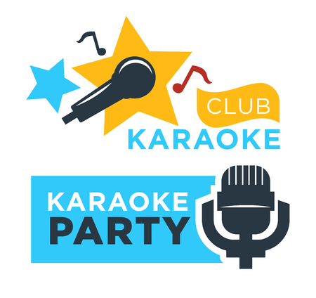 Karaoke club and bar vector labels or logotype design collection set. Illustration