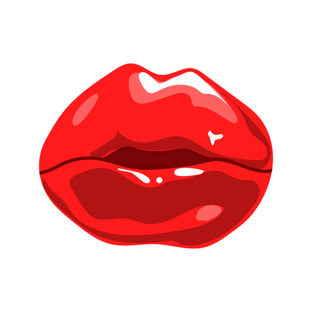 Red lips isolated on white. Illustration