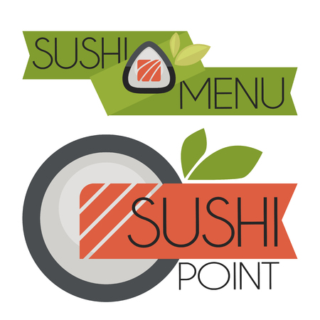 Collection of vector logos  sushi. Illustration