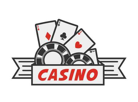 Vector illustration of the casino emblem with the chips and aces isolated on white. Illustration