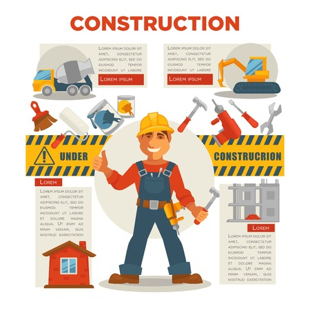 jobs: Vector illustration of the builder with tools gesturing thumbs up.