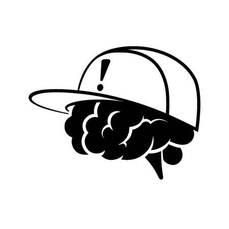 element: Brain wearing cap with exclamation tag Illustration