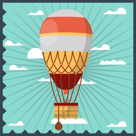 Vintage Luftballon im Himmel Illustration