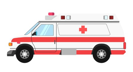 car: Ambulance colorful mean of transportation isolated on white Illustration