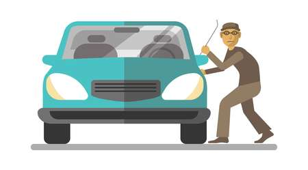 stealer: Man thief breaking car door isolated on white Illustration