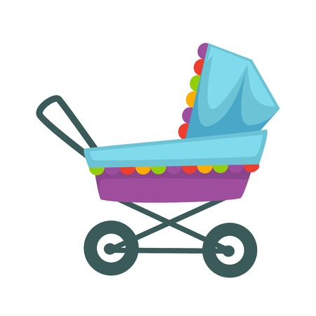 Baby transport pram in blue violet colors decorated with frill.