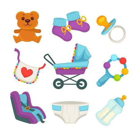 white clothes: Baby things and clothes colorful poster on white
