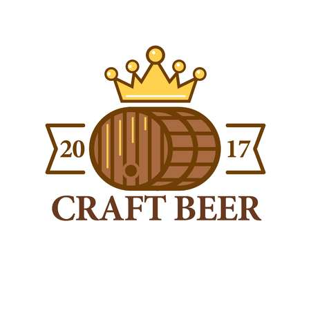 brewed: Craft beer logo with a barrel Illustration