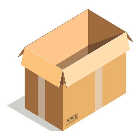packer: Delivery shipping package, square empty container, carton store package isolated Illustration