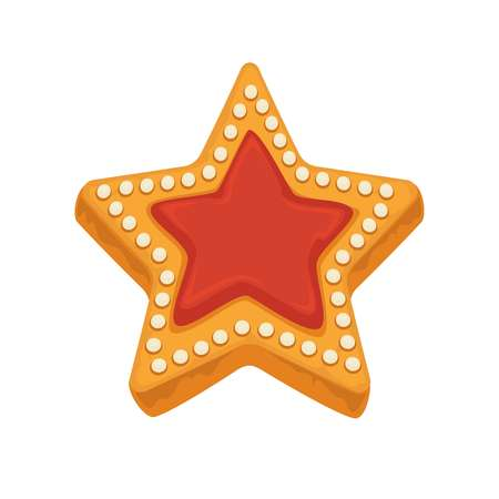 indulgence: Star shape biscuit with caramel, framed by sugar dots
