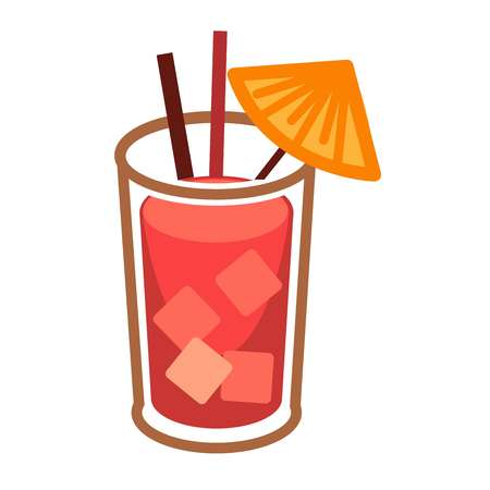 food: Modern cocktail Bloody Mary with ice cubes in glass highball with two straws Illustration