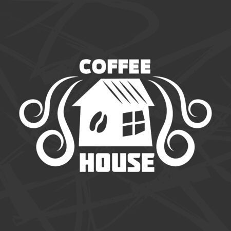 cover: Coffee house logotype design isolated on black transparent background.