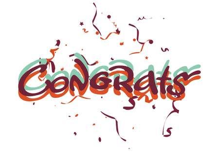 Congrats lettering and confetti