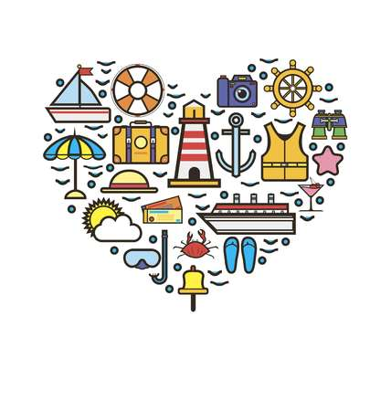 diving save: Cruise template with marine holiday elements in heart shape Illustration