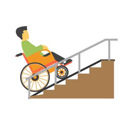 Man in wheelchair riding on stairs vector picture Imagens - 76539580