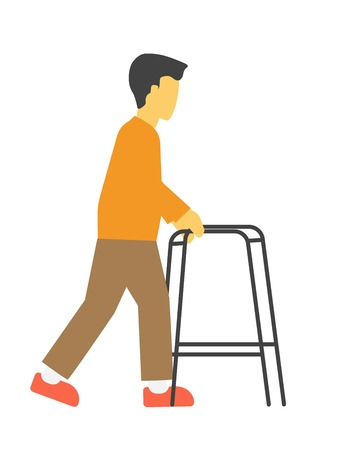 Incapacitated faceless person with metal walkers vector illustration isolated. Illustration