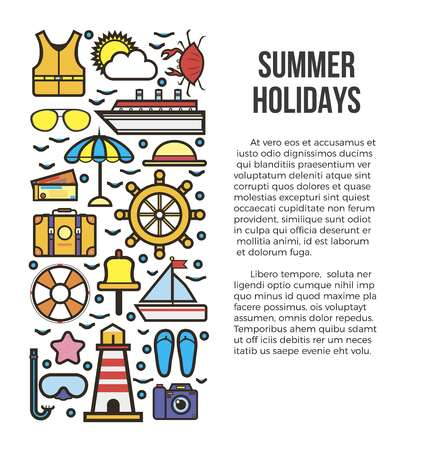 Summer holiday cruise template with marine elements with text