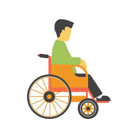 amputee: Incapacitated faceless person on wheelchair isolated on white background vector