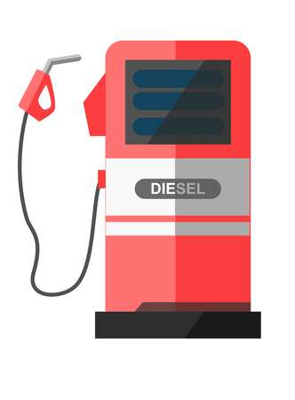 fillup: Red petrol station with disconnected filling pistol