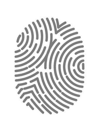 dactylogram: Fingerprint type with circular line signs isolated on white background Illustration