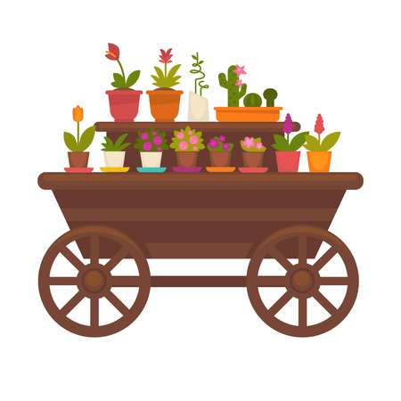 Fresh spring flowers in pots on wooden trolley vector collection isolated