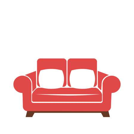 settee: Sofa icon in red and white colors vector isolated illustration.