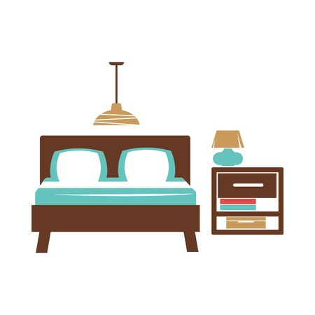 bedstead: Double bed, table with lamp, chandelier on ceiling in bedroom Illustration