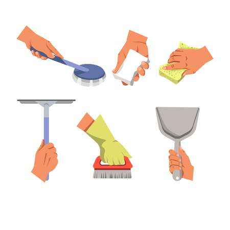 rag: Hands holding different tools for cleaning on white background