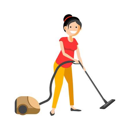 cleaning service: Girl working with vacuum cleaner