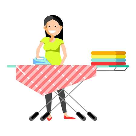 Cheerful girl ironing clothes