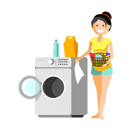 Cheerful woman putting clothes to washer Illustration
