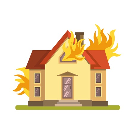 help: Blazing double decker house burning with fire on white background