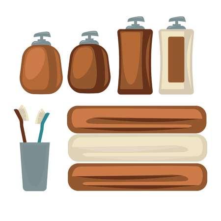 personal accessories: Brown bottles and towels