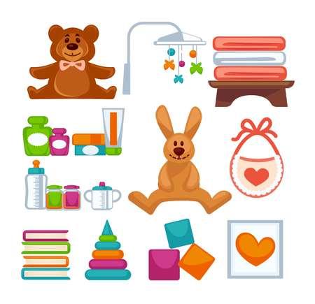 lapin: Différents jouets adorables Illustration