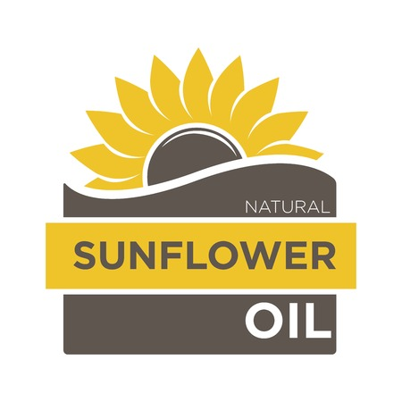 natural color: Color emblem of natural sunflower oil with yellow helianthus