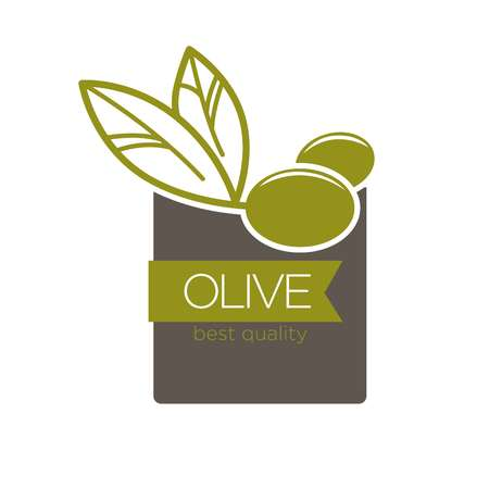 white background: Best quality olive label