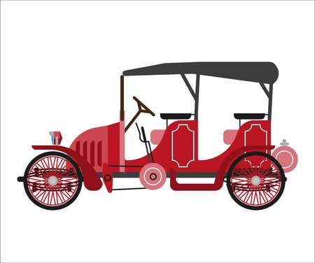 car isolated: Ancient car isolated on white vector flat illustration Illustration