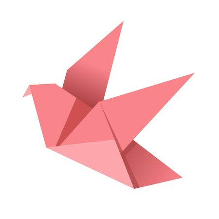 folded paper: Paper origami pink bird isolated on white vector flat illustration.