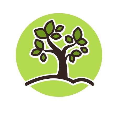 Minimalistic green tree growing Illustration
